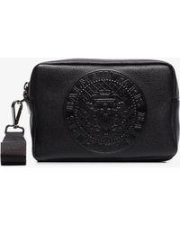 Balmain - Black Debossed Logo Leather Wash Bag - Lyst