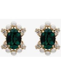 Anton Heunis - Metallic Gold, Green And White Crystal And Pearl Earrings - Lyst