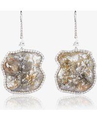 Saqqara - 18k White Gold Mountain Diamond Earrings - Lyst