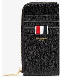 Thom Browne - Black Blue Half Zip Around Pebble Grain Leather Wallet - Lyst