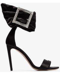 Alexandre Vauthier - Black Yasmin 100 Silk Satin Crystal Buckle Sandals - Lyst