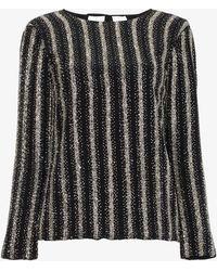Dries Van Noten - Sequin Long Sleeve Silk Top - Lyst
