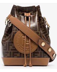 Fendi - Tobacco Brown Montresor Large Branding Stamp Bucket Bag - Lyst