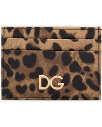 Dolce & Gabbana - Brown Leopard Print Leather Cardholder - Lyst
