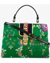 Gucci - Medium Sylvie Floral Print Bag With Top Handle - Lyst