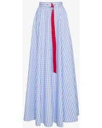 Adam Selman - High Waist Gingham Cotton Maxi Skirt - Lyst