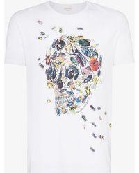 61c904cf Alexander McQueen Floral Skull-Print Cotton T-Shirt in Gray for Men ...