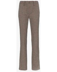 Miu Miu - High Waisted Checked Wool Trousers - Lyst