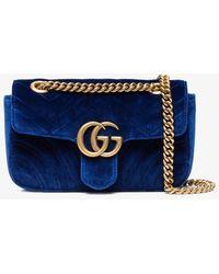 2a438ea09638 Lyst - Gucci Marmont GG Velvet Shoulder Bag in Blue