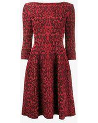 Alaïa - Lace Overlay Flared Dress - Lyst