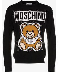 Moschino - Teddy Bear Intarsia Safety Pin Virgin Wool Jumper - Lyst