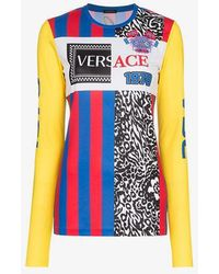Versace - Logo Embroidered Multi Print Top - Lyst