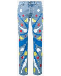 Mirco Gaspari - Blue 501 Paint Splattered Jeans - Lyst