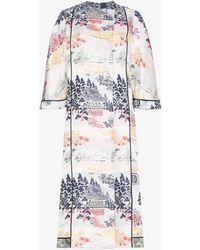 Adam Lippes - Reverse Jacquard Silk Kimono Coat - Lyst