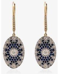 Yvonne Léon - Diamond And Sapphire Disc Drop Earrings - Lyst