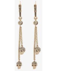 Alexander McQueen - Metallic Chain Skull Earrings - Lyst