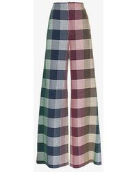 Roland Mouret - Delano Wide Leg Check Trousers - Lyst