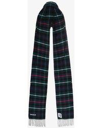 Balenciaga - Fringed Tartan Wool Hooded Scarf - Lyst