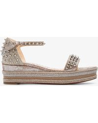 Christian Louboutin - Silver Madmonica Spike 60 Leather Wedges - Lyst
