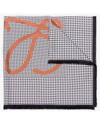 Loewe - Multicoloured Check Anagram Print Silk Scarf - Lyst