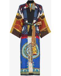 Rianna + Nina - Multicoloured Mixed Horse Print Silk Kimono Robe - Lyst