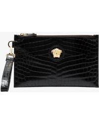 Versace - Black Medusa Leather Clutch Bag - Lyst