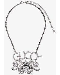 Gucci Mens Silver Floral Logo And Pendant Crystal Necklace