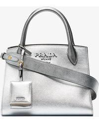 Prada - Monogram Metallic Tote Bag - Lyst