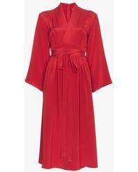 Adam Lippes - Kimono Wrap Silk Midi Dress - Lyst
