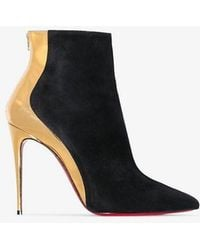35dfb42c4a6d Christian Louboutin - Black And Gold Metallic Delicotte 100 Suede Leather  Boots - Lyst