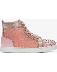 Christian Louboutin - Pink Lou Degra Leather Trainers - Lyst