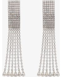 Alessandra Rich | Silver Rectangular Crystal Drop Earrings | Lyst