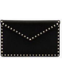 324695f83d Valentino - Garavani Black Rockstud Leather Envelope Clutch - Lyst