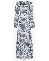 The Vampire's Wife - Belle Floral Ruched Shoulder Maxi Dress - Lyst