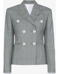 CALVIN KLEIN 205W39NYC - Grey Double Breasted Check Blazer - Lyst