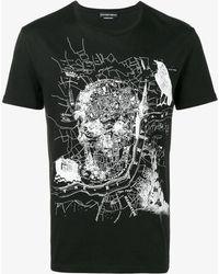 Alexander McQueen - Black London Map Skull T Shirt - Lyst