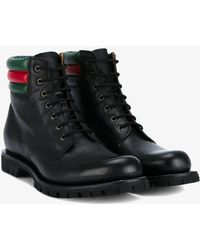 Web-strapped leather boots Gucci WHG5pZt