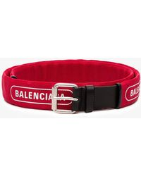 Balenciaga - Red And Black Logo Printed Leather Belt - Lyst