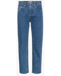 RE/DONE - Stove Pipe 27 High Waisted Straight Leg Cropped Jeans - Lyst