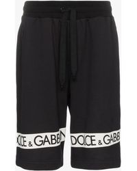 Dolce & Gabbana - Logo Tape Cotton Track Shorts - Lyst