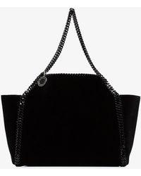 Stella McCartney - Black Falabella Reversible Velvet Shoulder Bag - Lyst