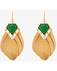 Katerina Makriyianni - Jade And Gold Earrings - Lyst