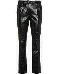 Helmut Lang - Leather Mid Rise Cropped Trousers - Lyst
