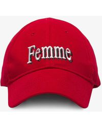Balenciaga - Red Femme Embroidered Baseball Cap - Lyst