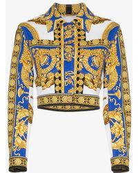 Versace - Pillow Talk Print Cropped Denim Jacket - Lyst