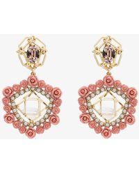 DANNIJO - Clock Crystal Pearl Rose Earrings - Lyst