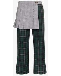 Sandy Liang - Apron High Waisted Check Cotton Trousers - Lyst