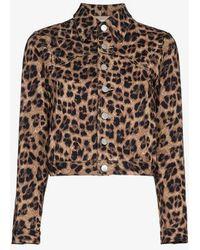 Miaou - Lex Leopard Print Cropped Cotton Blend Jacket - Lyst