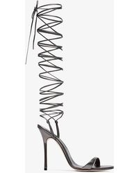 Manolo Blahnik - Grey Priscahiplain 115 Leather Sandals - Lyst