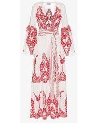 We Are Leone - V-neck Embroidered Cotton Robe - Lyst
